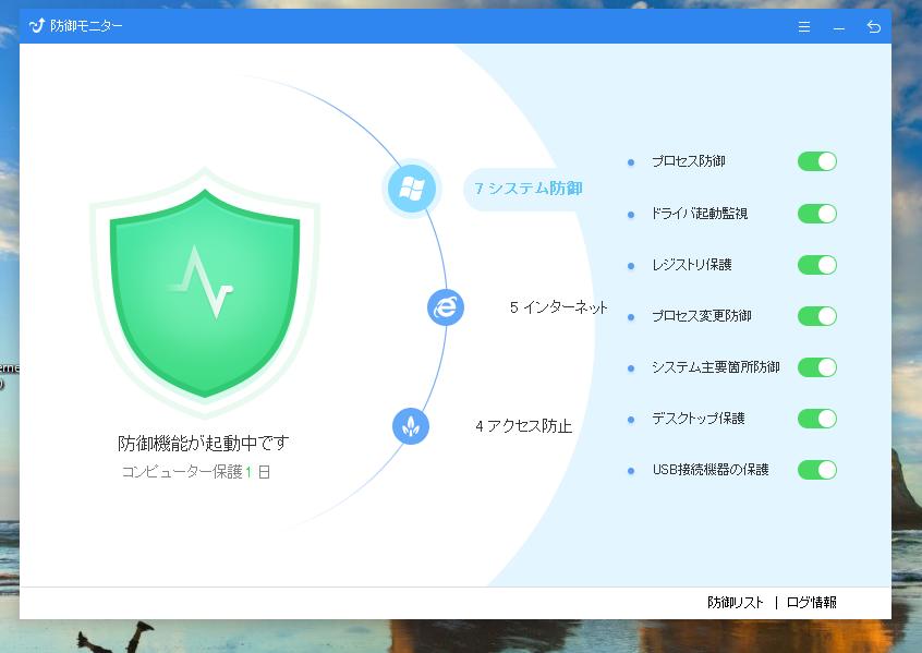 キングソフトセキュリティのシステム防御